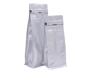 Matt Silver Bags With Tear Off Zipper With Valve