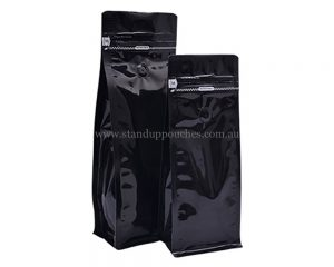 Shiny Black Bags With Tear Off Zipper With Valve