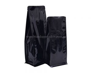 Shiny Black Bags Without Zipper With Valve