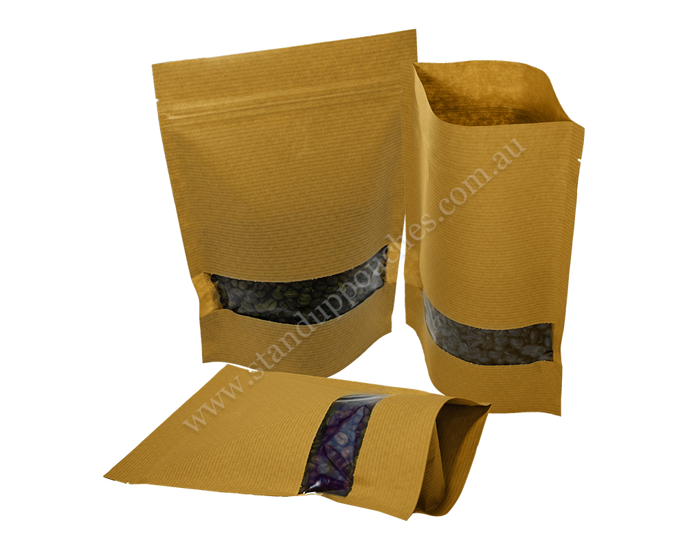 Brown Stripped Pouches with Rectangle Window