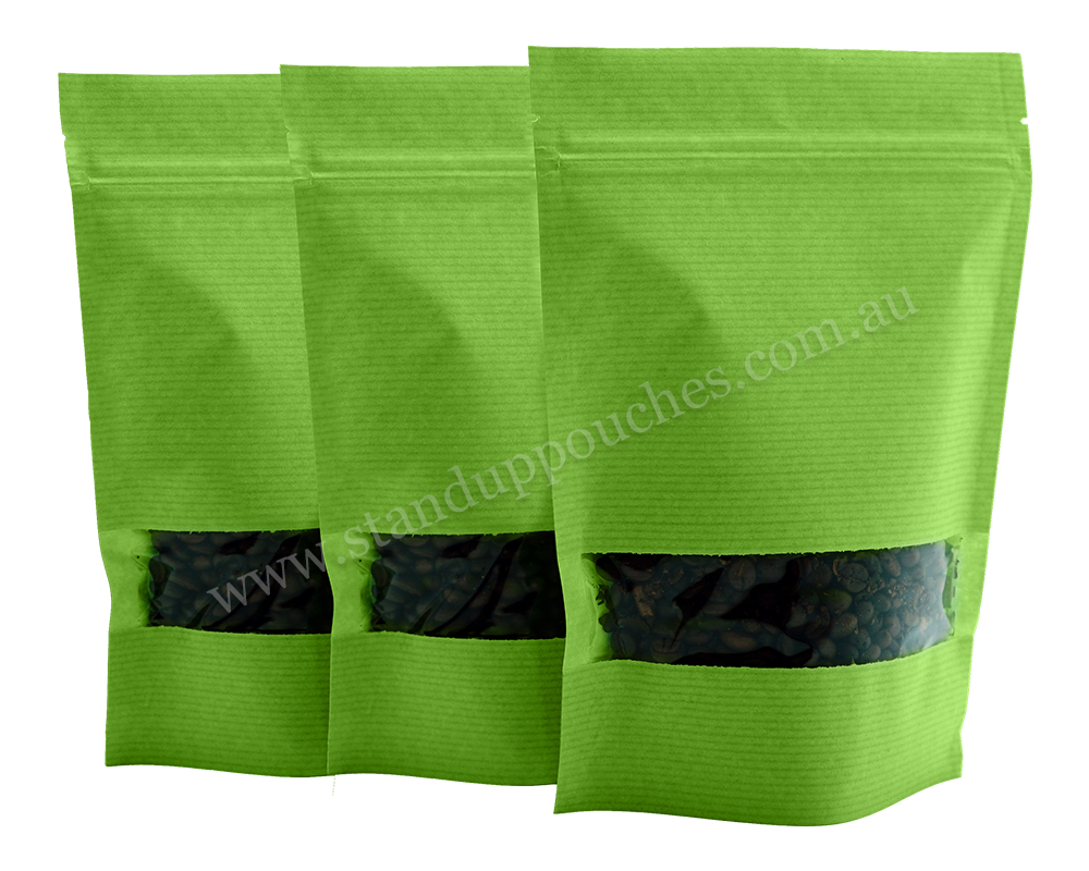 Green Stripped Pouches with Rectangle Window