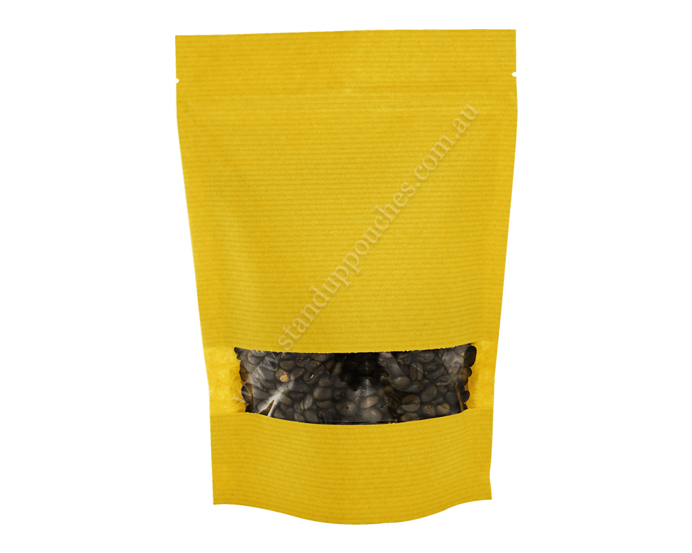 Yellow Stripped Pouch with Rectangle Window