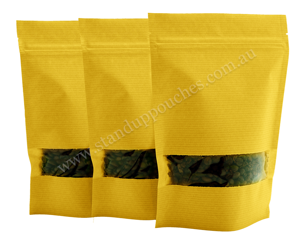Yellow Stripped Pouches with Rectangle Window