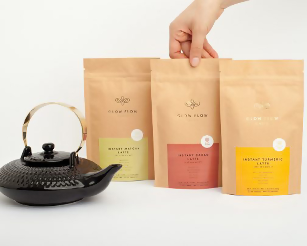 Tea Packaging Stand Up Pouches | Flat Bottom Bags for Tea ...