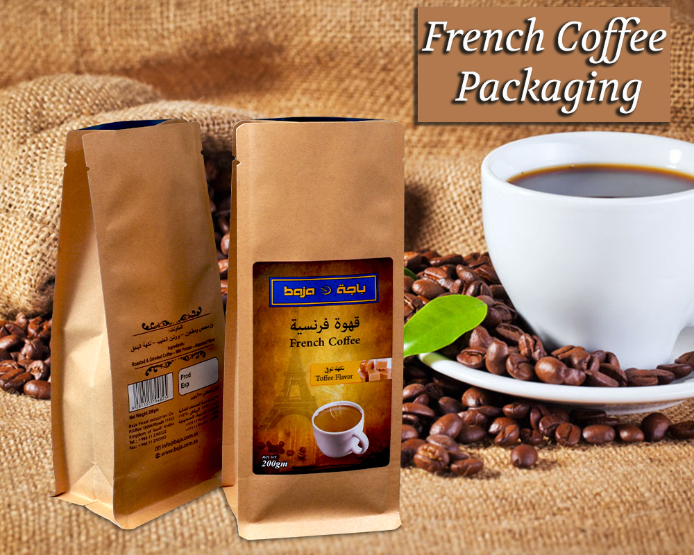 French Coffee Packaging In Flat Bottom Pouches
