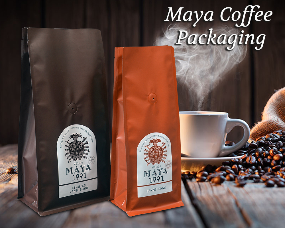 Maya Coffee Packaging In Flat Bottom Bags